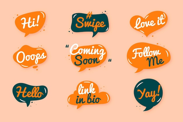 Social media slang bubbles set