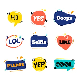 Social media slang bubbles