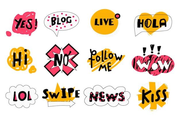 Social media slang bubbles