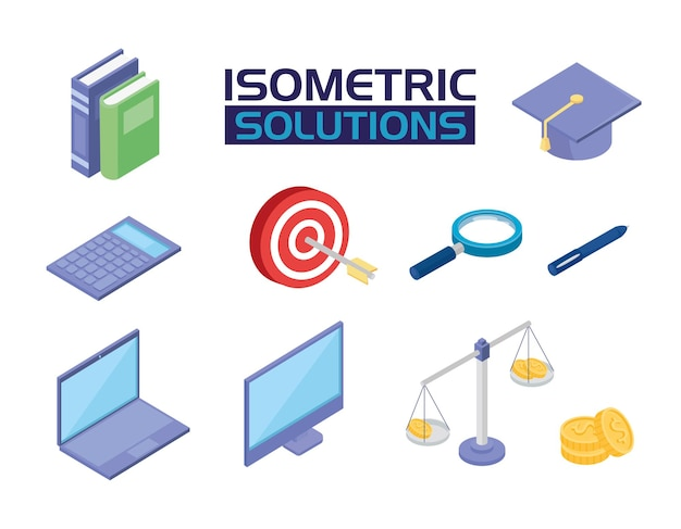 Social media solutions isometric icons
