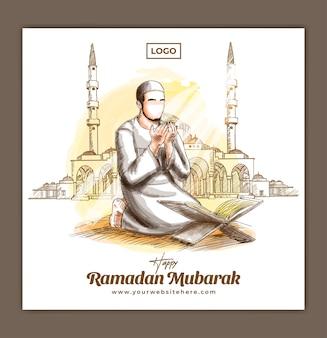 Шаблон квадратного баннера в социальных сетях для празднования рамадана карима мубарака с мусульманином и молитвой рисованная иллюстрация