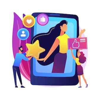Social media star abstract concept  illustration. influencer, social media reach and engagement, celebrity account monetization, personal blog, star content creation .