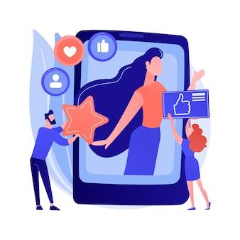 ソーシャルメディアスター抽象的な概念ベクトルイラスト。インフルエンサー、ソーシャルメディアのリーチとエンゲージメント、有名人のアカウントの収益化、個人のブログ、スターコンテンツの作成の抽象的なメタファー。