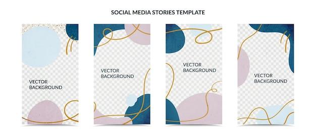 ソーシャルメディアストーリーとポストクリエイティブカバーセットイラスト