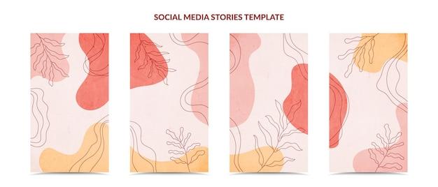 Истории из социальных сетей и набор обложек для постов. минимальный модный стиль рисования руки.