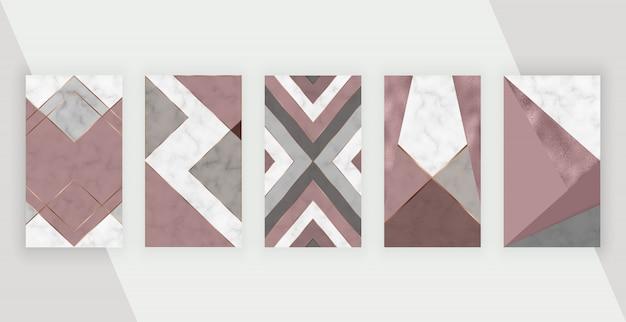 ソーシャルメディアの物語の背景にピンク、ローズゴールドの幾何学的なデザイン。
