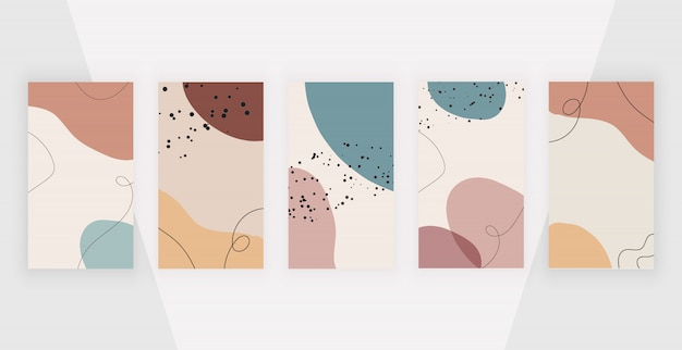 Social media stories backgrounds with abstract geometric design with pink, brown colors hand painted shapes.