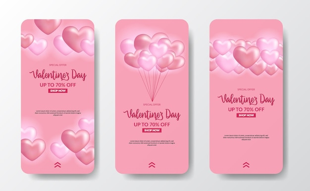 Истории в социальных сетях баннер поздравительная открытка на день святого валентина с 3d иллюстрацией воздушного шара в форме розового сердца и мягким розовым пастельным фоном