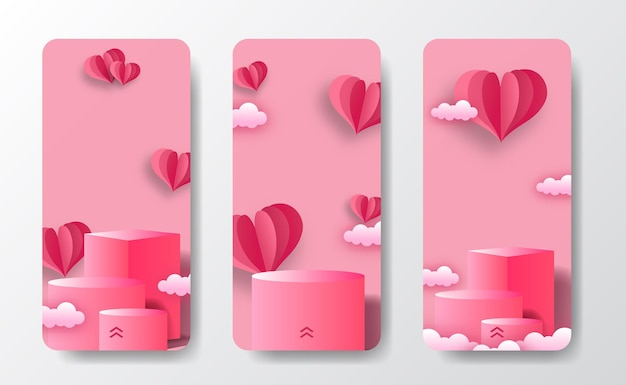 Social media stories banner greeting card for podium stage product display valentine's day with heart shape paper cut style illustration and soft pink pastel background