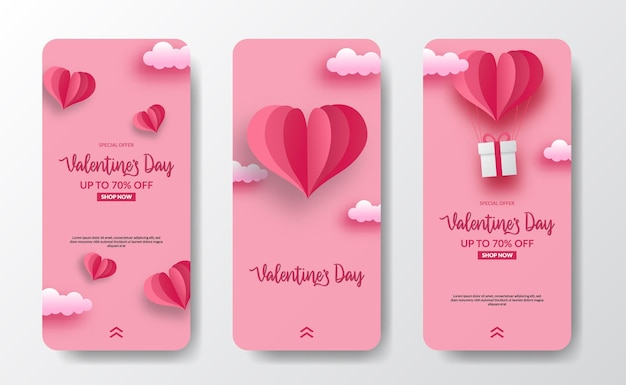 Social media stories banner greeting card for valentine's day with heart shape paper cut style illustration and soft pink pastel background