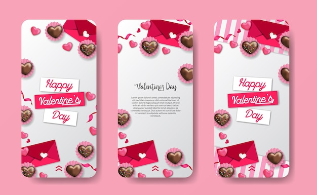 Social media stories banner template for valentine's day event with sweet pink illustration decoration love heart