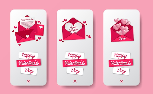 Social media stories banner template for valentine's day event with sweet pink love letter envelope illustration