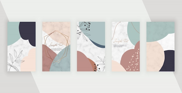 Social media stories banners with abstract geometric design with hand painted shapes, polygonal lines frame.