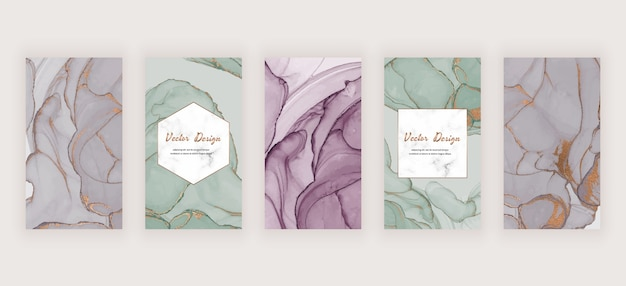 Social media stories banners with grey and green alcohol ink texture and marble frame
