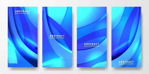 Истории из социальных сетей синий абстрактный динамический поток жидкости форма яркий цветовой градиент для обложки, плаката, шаблона баннера футуристической технологии