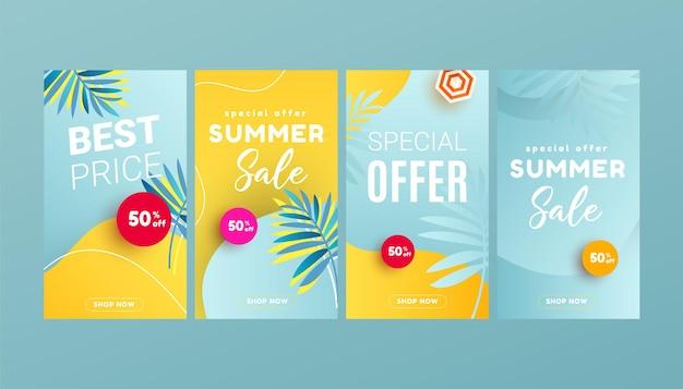 Шаблоны дизайна историй в социальных сетях с летним баннером в форме жидкой пляжной волны