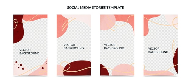 Social media stories and post creative cover set illustration
