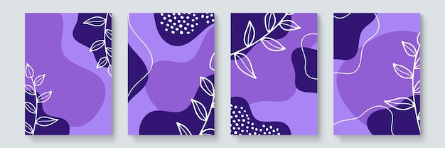 Social media stories and post template vector set. abstract shapes cover background with floral and copy space for text and images. vector illustration