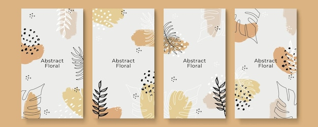 Social media stories and post template vector set. abstract shapes cover background with floral and copy space for text or images. vector illustration