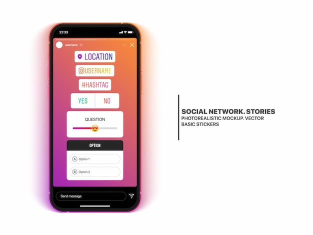 Social media stories stickers set on mobile phone screen mockup isolated on white background