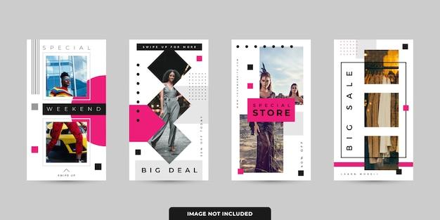 Social media stories template pack vector