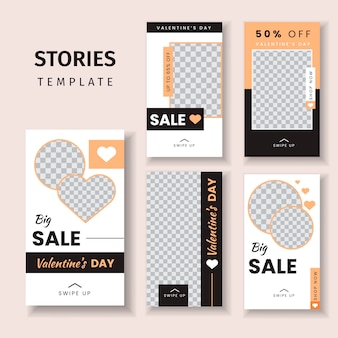 Social media stories template for valentine's day