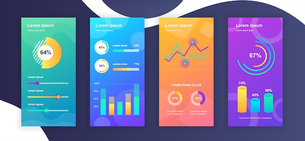 Social media stories templates whith infographic elements data visualization