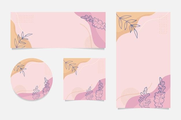 Social media story abstract floral template