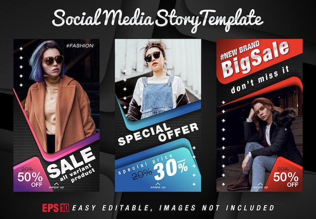 현대적인 디자인 템플릿의 소셜 미디어 스토리 패션