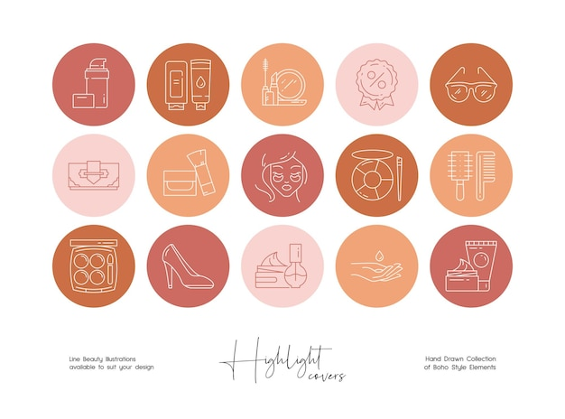 Social media story highlight beauty and boho style line illustration set