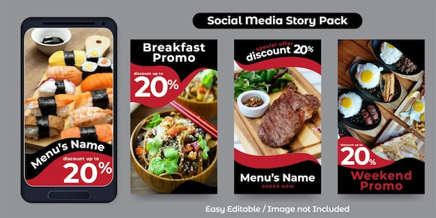 Social media story post template for food promotion