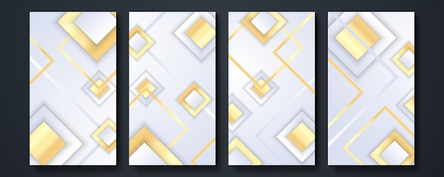 Social media story template background. collection of design elements, design of luxury products. made with golden lines. isolated on white background. vector illustration