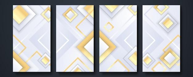 Фон шаблона истории социальных сетей. коллекция элементов дизайна, дизайн предметов роскоши. сделано с золотыми линиями. изолированные на белом фоне. векторная иллюстрация