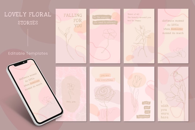 Social media story template vector set in pink