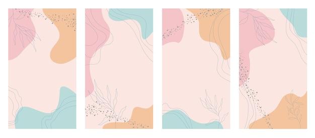 ソーシャルメディアストーリーテンプレートバンドルベクトルレイアウトパステルセット有機的な形と花の線画