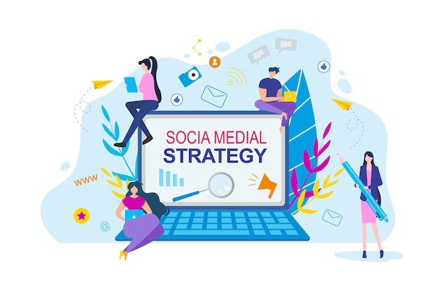 Social media strategy cartoon people with notebook