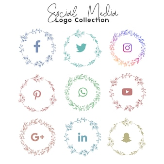 Social media summer logo and icon colection