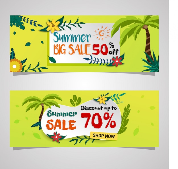 Social media summer sale banner tropical vibe design