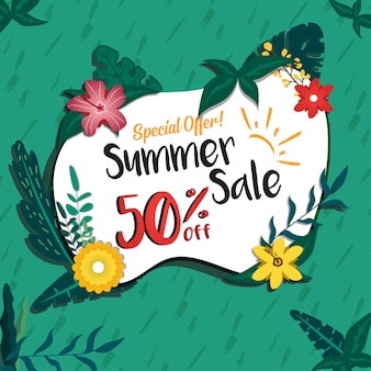 Social media summer sale discount promotion design banner