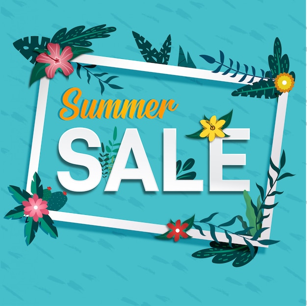 Social media summer sale tropical banner design
