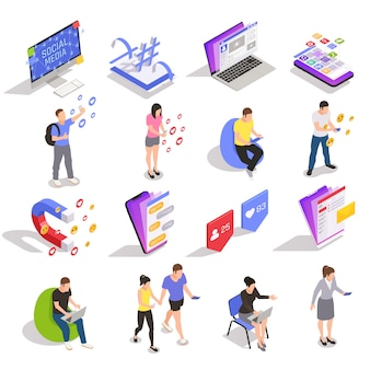 Social media symbols technology messaging people isometric icons collection with devices websites applications users isolated