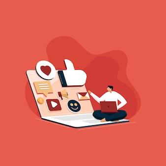 Команда социальных сетей развивайте бизнес с помощью агентства цифрового маркетинга, управляя контентом, smm и концепции блогов