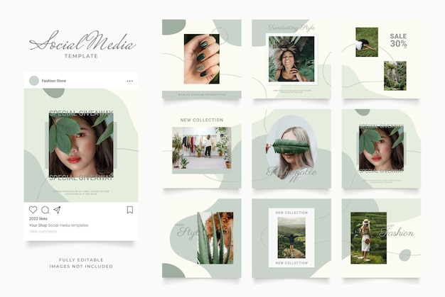Social media template banner blog fashion sale promotion. fully editable square post frame puzzle organic sale poster. green white vector background