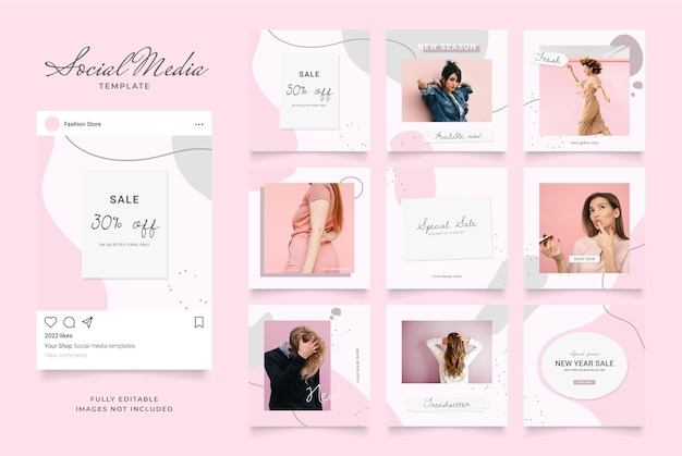 Social media template banner blog fashion sale promotion. fully editable square post frame puzzle organic sale poster. pink white vector background