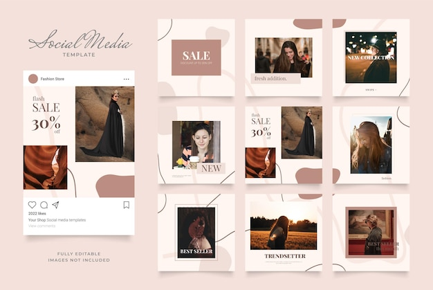 소셜 미디어 템플릿 배너 블로그 패션 판매 프로모션.