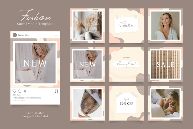 소셜 미디어 템플릿 배너 패션 판매 프로모션. 브라운 카키 화이트