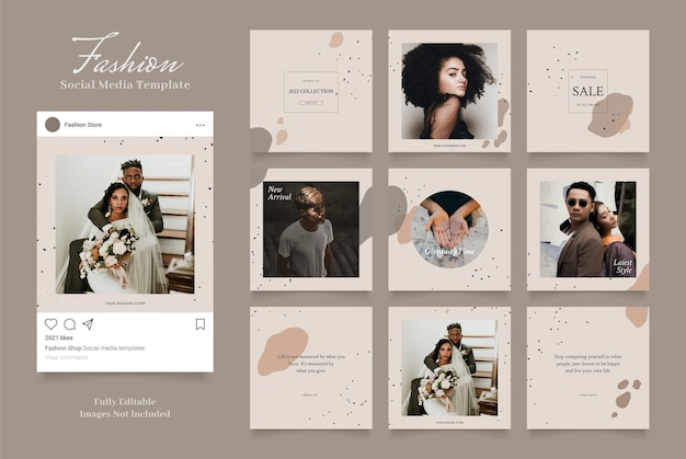 Social media template banner fashion sale promotion. fully editable instagram and facebook square post frame puzzle organic sale   brown beige