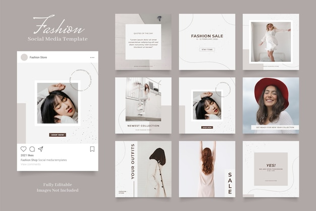 Social media template banner fashion sale promotion. fully editable instagram and facebook square post frame puzzle organic sale   brown grey white