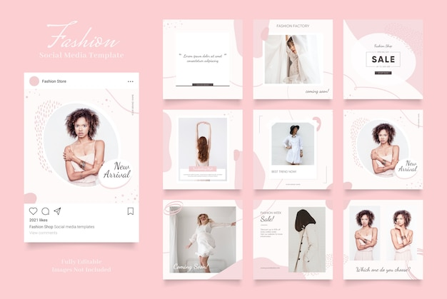 Social media template banner fashion sale promotion. fully editable instagram and facebook square post frame puzzle organic sale   pink