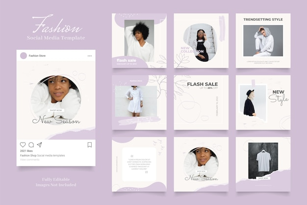Social media template banner fashion sale promotion. fully editable instagram and facebook square post frame puzzle organic sale   purple violet white